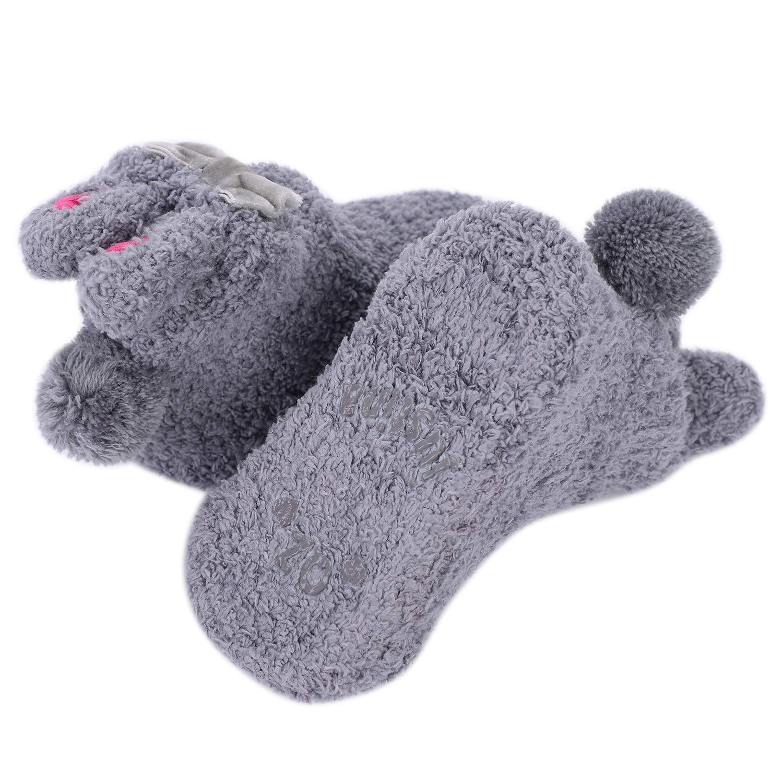 e3b2d2eb361 Baby Slipper Socks Anti Slip Non Skid Kids Toddler Cute Socks with Grips  Warm Fleece Socks Booties Cartoon Animal Sock Set Prewalker Pram Shoes for  Early ...
