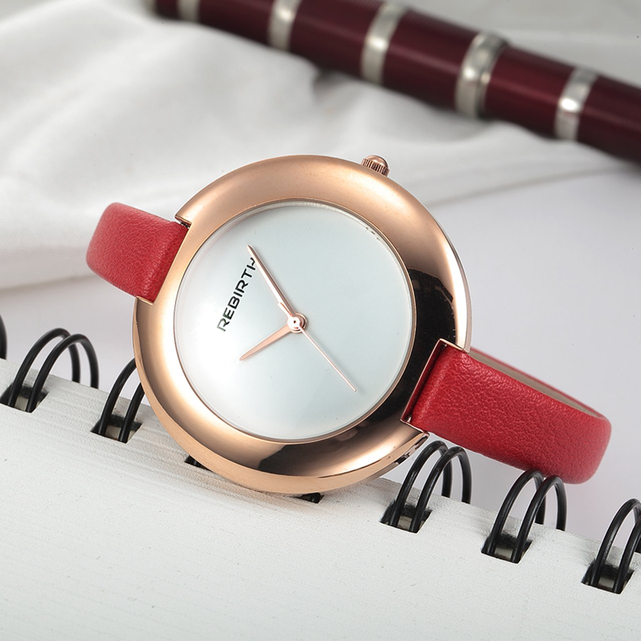 Top Plaza Ladies Red Fashion Big Face Watch Analog Quartz Thin PU Leather Blank Space Dial Daily Waterproof by Top Plaza (Image #3)