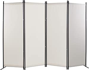 GOJOOASIS 4 Panel Room Divider Folding Privacy Screen Home Office Dorm Decor (White)