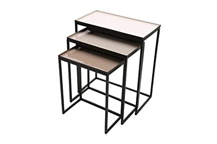 Rectangular Nesting Tables GRAYWOLF With Removable Tray Tops In Shades Of  Gre.