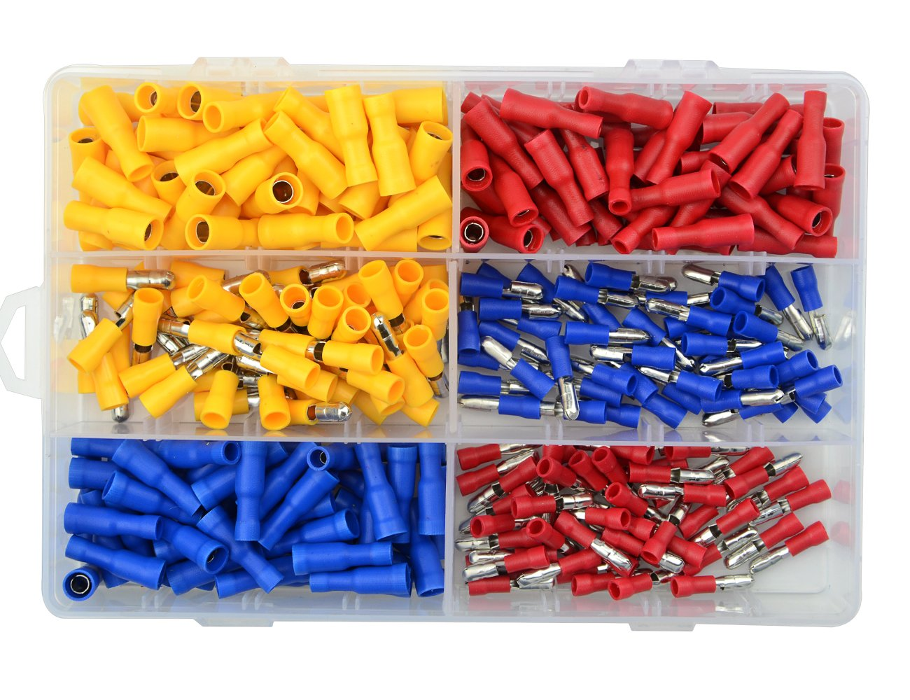 WGCD 300 PCS Insulated Male Female Bullet Butt Wire Crimp Connector Terminals Assortment 12-10 16-14 22-16 Gauge