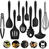 Kitchen Utensils, Silicone Heat-Resistant Non-Stick Cooking Tools of 10, Turner, Whisk, Spoon,Brush,Spatula, Ladle…
