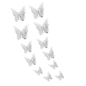 GJCDP 12 Pcs Butterfly Wall Decals Sticker,Removable Mural DIY Home Decor Stickers,6D Hollow-Out Decals for Home Decor DIY Butterflies Fridge Sticker, Room Decoration, Party,Wedding Decor