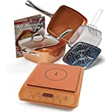 "Copper Chef 9.5"" Deep Square Pan 6 Piece Set with Induction Cooktop (Copper Induction Cooktop)"