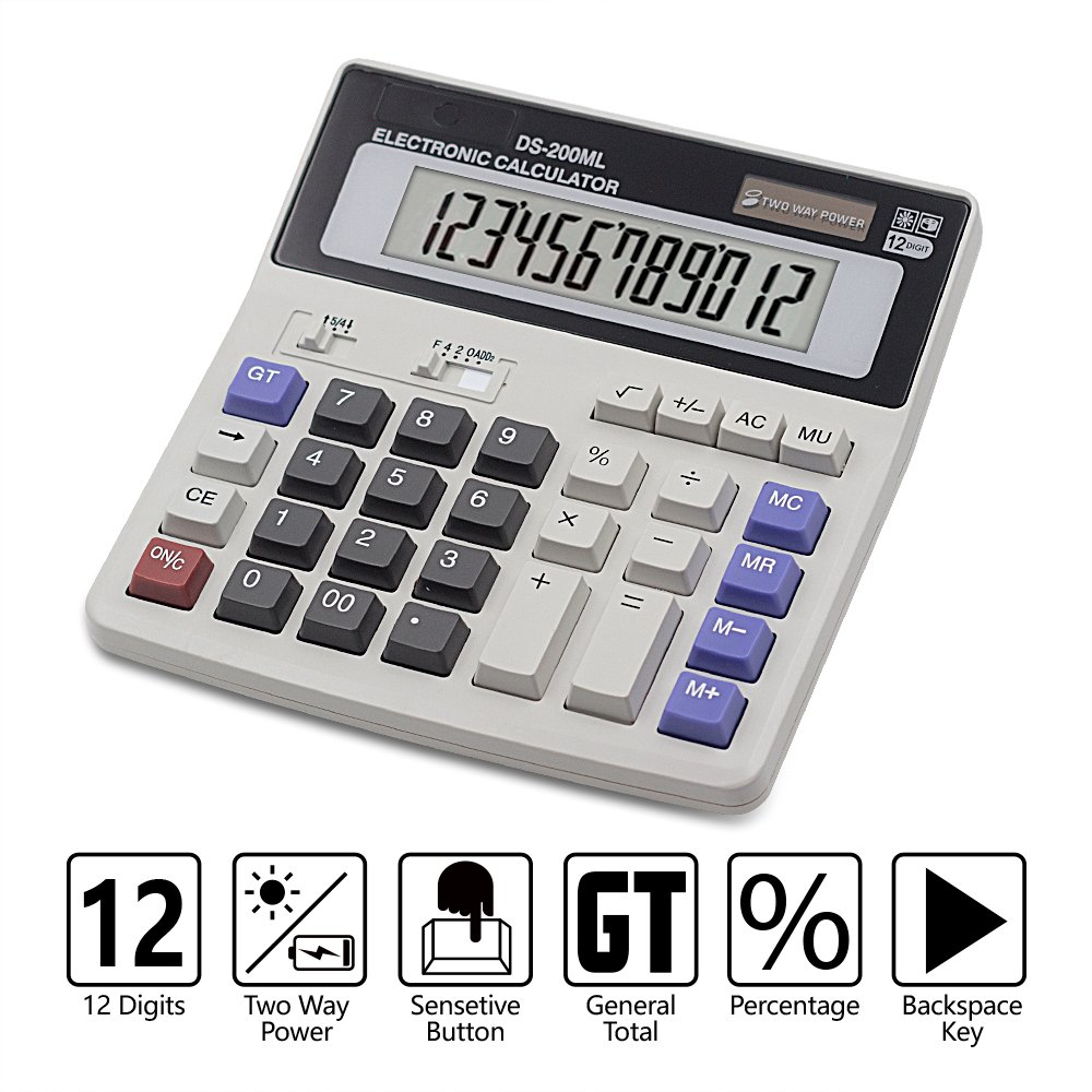 Calculator, Basic Desktop Calculator, Solar Battery Dual Power with 12-Digit Large LCD Display and Large Computer Keys Office Calculator by Ebristar (Battery Included) Boller