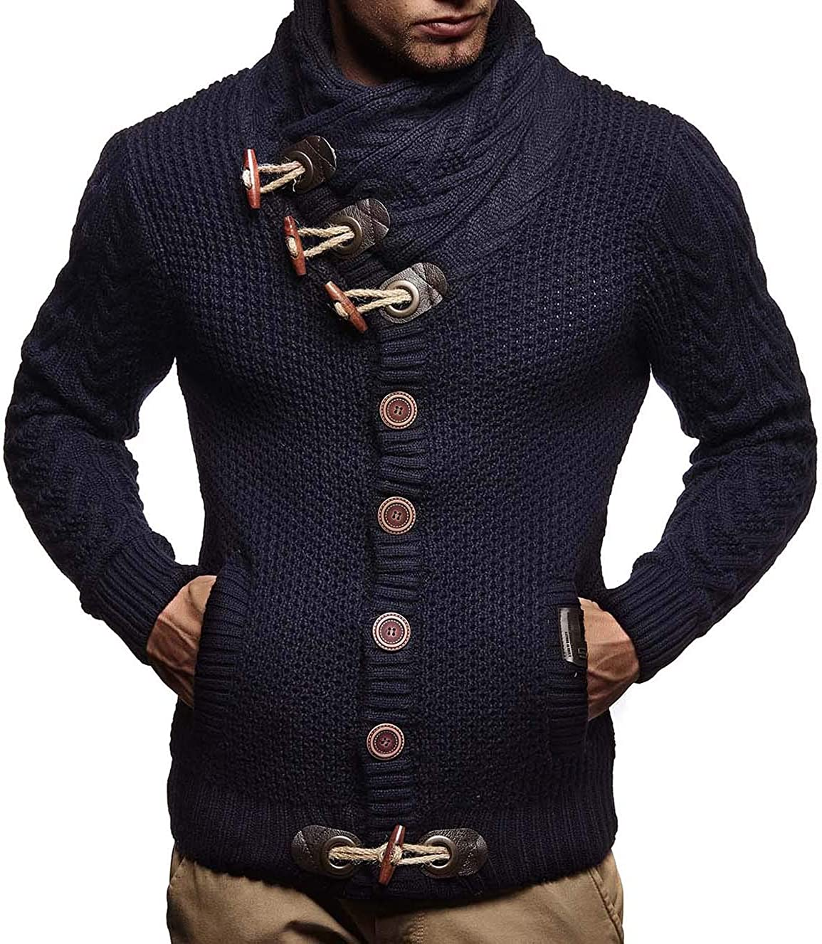 Leif Nelson Mens Knitted Jacket Turtleneck Cardigan Winter Pullover Hoodies Casual Sweaters Jumper LN4195