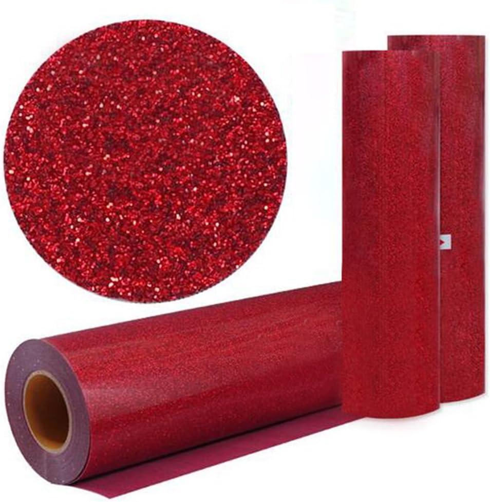 hoho] rojo color con purpurina transferencia de calor de vinilo película calor prensa corte Plotter de Corte por DIY camiseta 50cm*2500cm / 20* 984 inches rosso: Amazon.es: Hogar