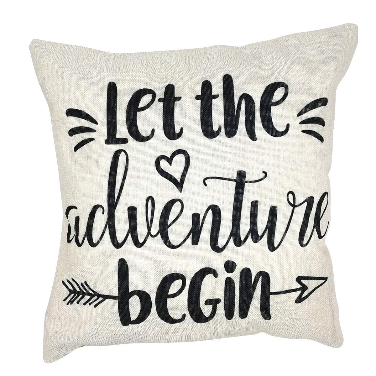 Arundeal 18 x 18 Inch Let The Adventure Begin Cotton Linen Square Throw Pillow Cases Cushion Cover