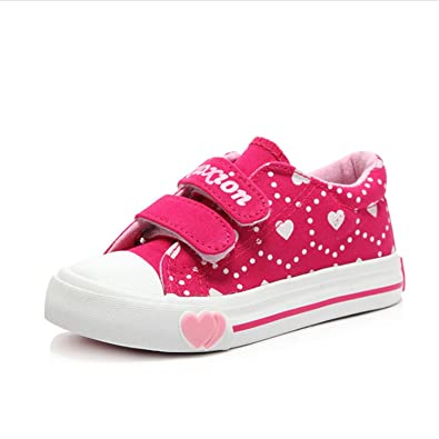 abd3b299ca74 Amazon.com | Size 31-36 Children Canvas Shoes Pink/Red Girl Bow-Tie ...