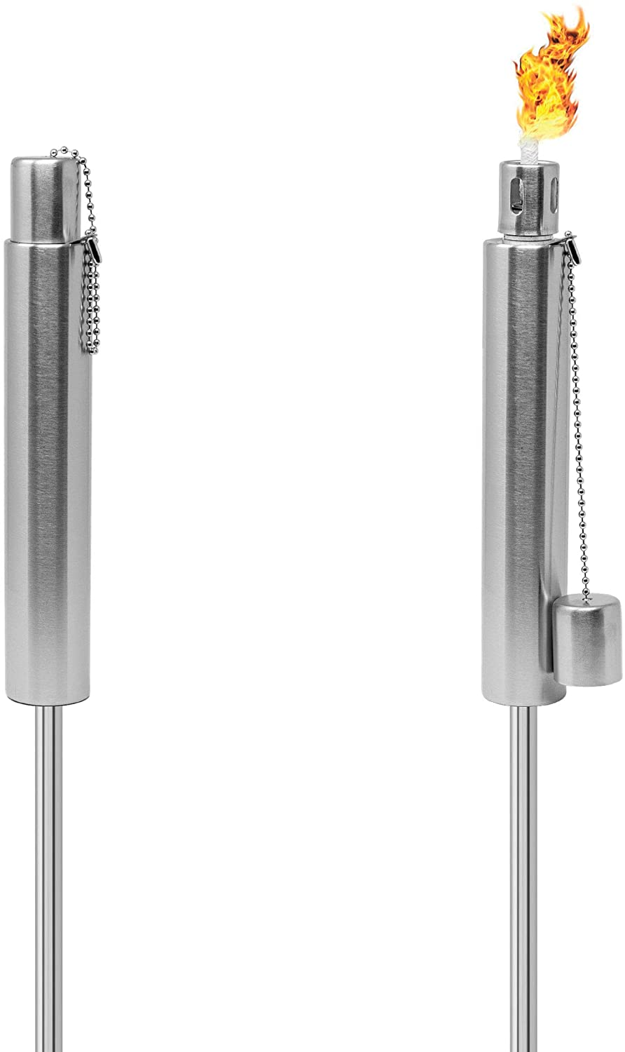 Matney Stainless Steel Torches – 5 ft Outdoor Oil Torch Lamp for Citronella - Garden, Lawn, Backyard Parties – Includes Fiberglass Wick and Snuffer Cap - Set of 2 (Silver Torch Set – Cylinder)