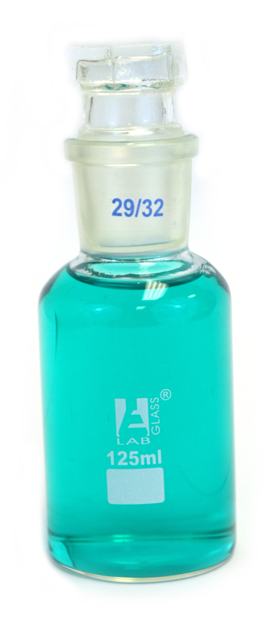 Eisco Labs 125ml Reagent Glass Bottle - Wide Mouth with Stopper by EISCO