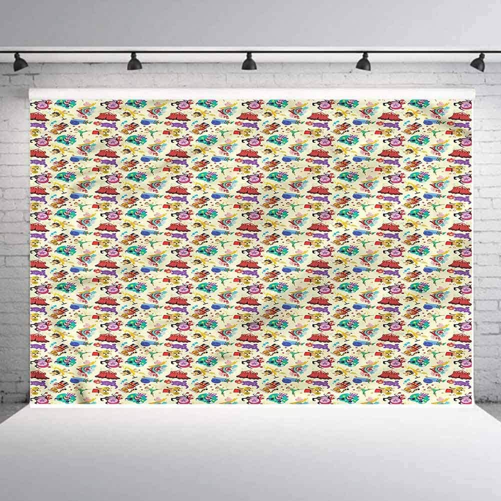 8x8FT Vinyl Wall Photography Backdrop,Circus,Festival Theme Monkey Lion Photo Backdrop Baby Newborn Photo Studio Props
