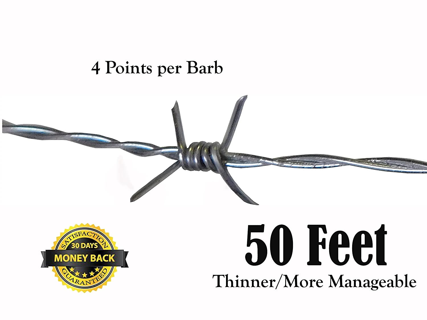 Amazon.com: 50 Feet Real Barbed Wire - Light Duty 18 gauge 4 pt MADE ...