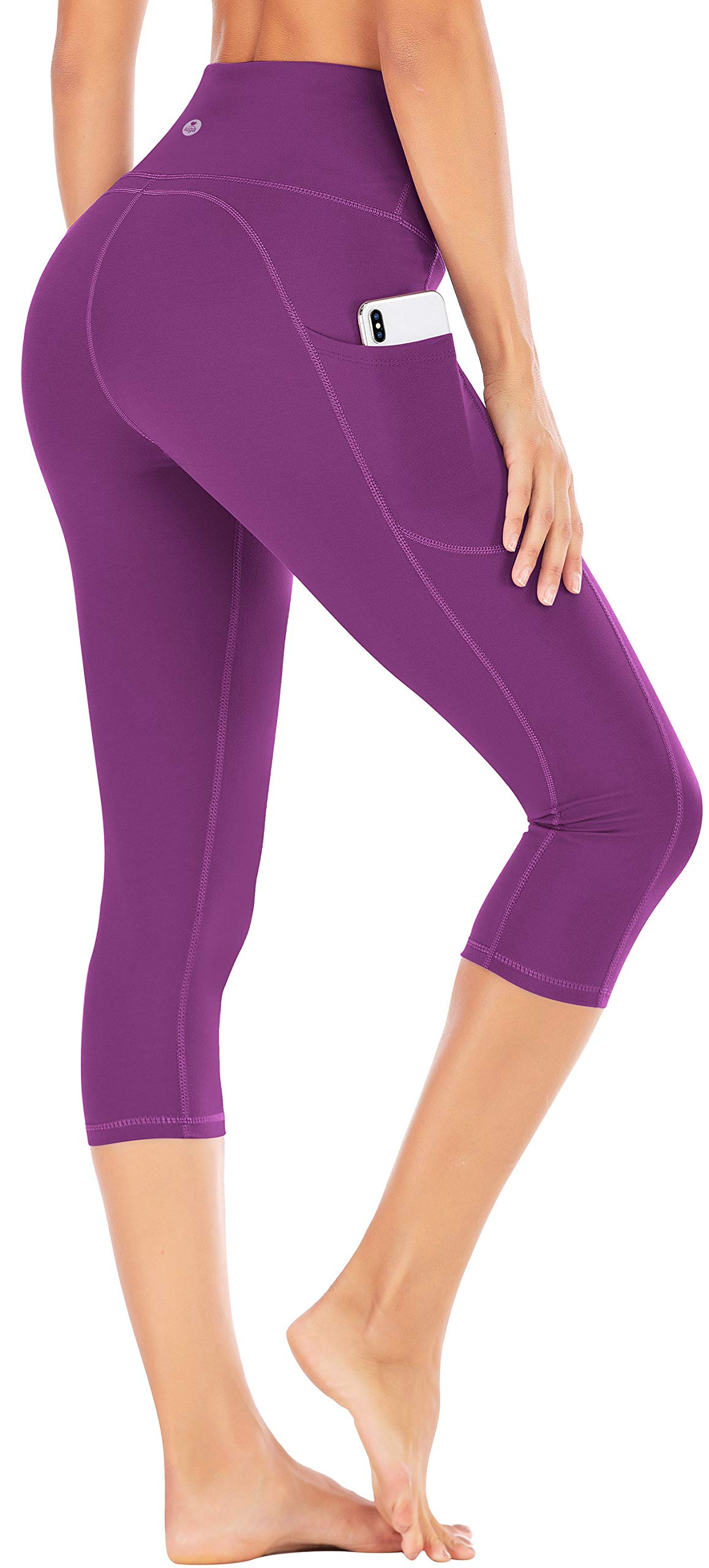 IUGA High Waist Yoga Pants with Pockets, Tummy Control Yoga Capris for Women, 4 Way Stretch Capri Leggings with Pockets(Purple, XS) by IUGA