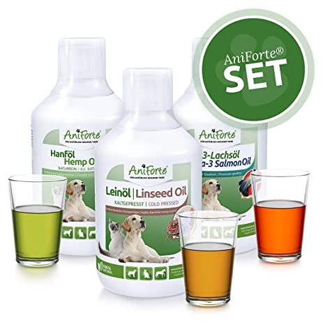 AniForte Barf Aceite Set 3 Cada Aceite de salmón 500Ml, Aceite de linaza y Aceite