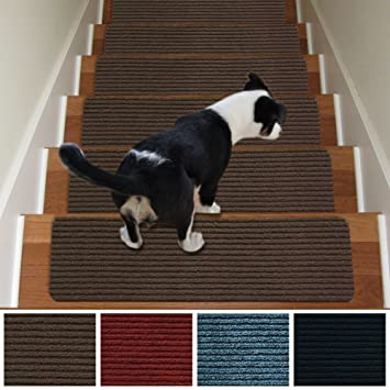 Stair Treads Non-Slip Carpet Indoor Set of 13 Brown Carpet Stair ...