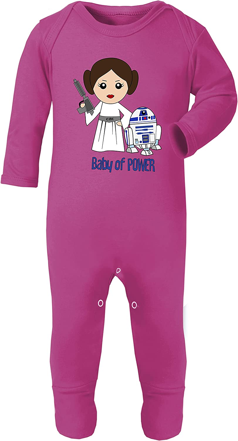 Leia and R2-D2 Baby of Power Star Wars Print Baby Footies Cotton Hypoallergenic