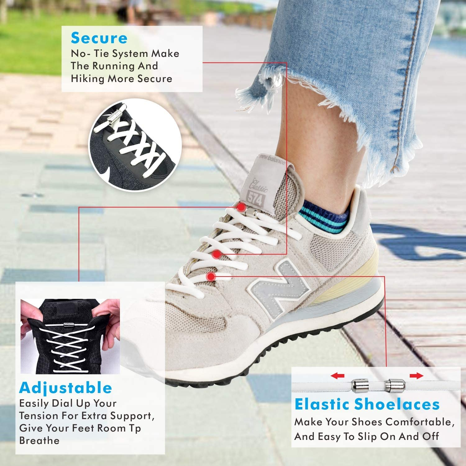 BAPHILE 3 Pairs Elastic No Tie Shoe Laces with 2 Pack Travel Shoe Bags for Adults Kids Elderly Sneakers Casual Shoes