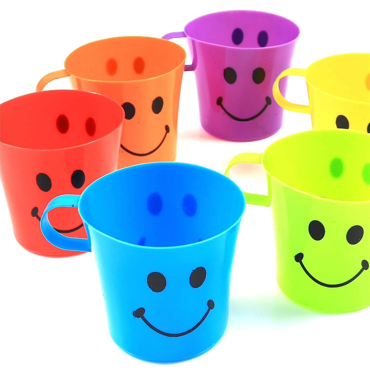 24x Kids Plastic Smiley Face Cups - Handled Mugs Camp/Travel Party Set White Hinge