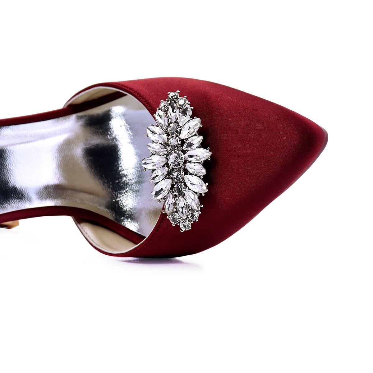 ElegantPark AW Women's Leaf Design Rhinestones Crystal Clutch Dress Hat Shoe Clips Silver 2 Pcs by ElegantPark (Image #2)