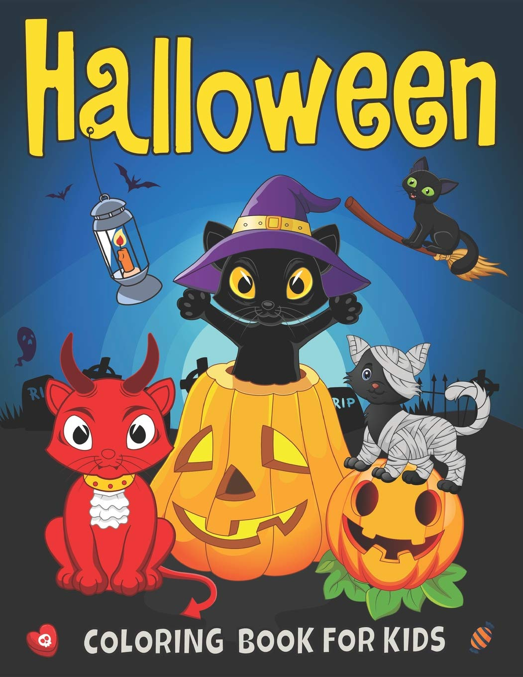 Halloween Coloring Book for Kids: Cute Cats Costumes Ghosts ...
