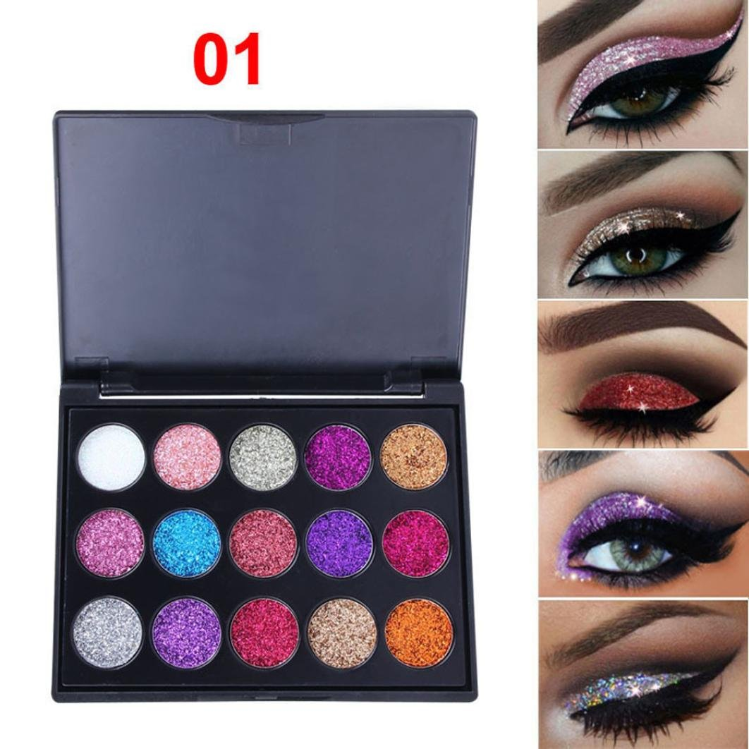 Eyeshadow Palette Ultra Pigmented Mineral Pressed Glitter Make Up Eye Shadow Powder Flash Waterproof 15 Colors Face Lips Art (A)