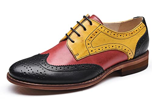 de9338b620 U-lite Red Yellow Black Perforated Wingtip Leather Flat Oxfords Vintage  Oxford Shoes Women RYB