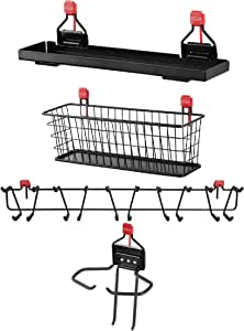 """Rubbermaid Shed Shelf, Wire Basket, 34"""" Tool & Sports Rack, & Power Tool Holder"""