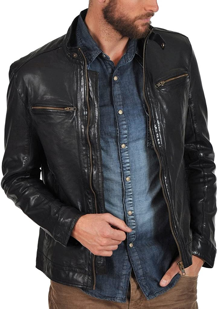New Men Motorcycle Leather Black Jacket Custom Made KL124