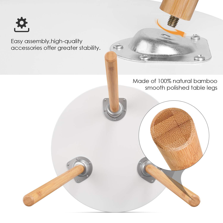 Homfa 3X Beistelltisch Couchtisch Wohnzimmertisch Kaffetisch Satztisch Set Skandinavisch Rund Weiß