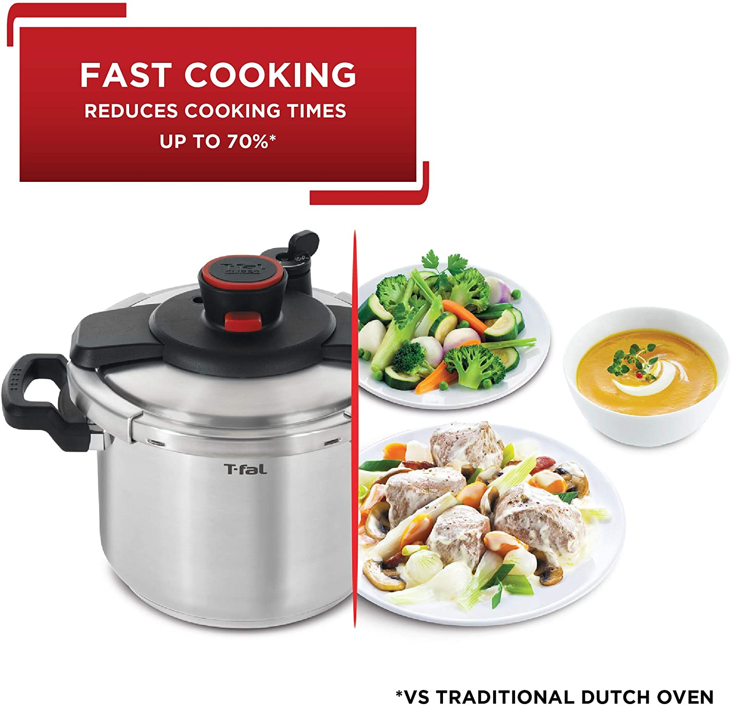 Fast cooking with T-fal induction compatible pressure cooker