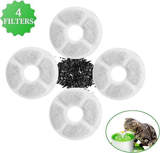 4 Pcs Filtros para Fuentes Gatos, Filtro de Carbono Activado de ...