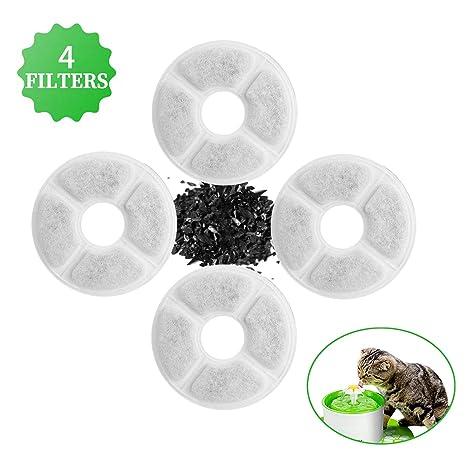 4 Pcs Filtros para Fuentes Gatos, Filtro de Carbono Activado de Reemplazo para Flores Fuente Dispensador, Filtro de Fuente de Agua para Mascotas ...