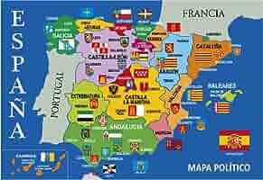Postal Mapa Político de España Azul 16x11 cm.: Amazon.es: Oficina y papelería