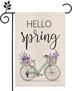 CROWNED BEAUTY Hello Spring Floral Bike Garden Flag 12×18 Inch Small Vertical Double Sided Seasonal Outside Décor for Yard Farmhouse CF100-12