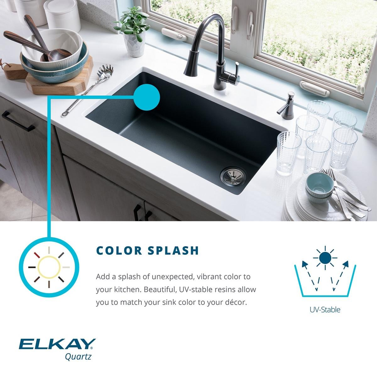 Elkay Quartz Classic ELGU2522WH0 Single Bowl Undermount Sink, White by Elkay (Image #4)
