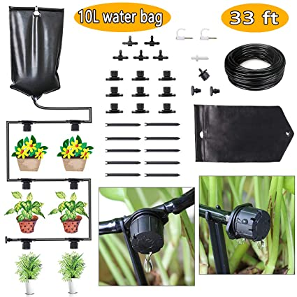 Fami Helper Indoor Watering System Drip Irrigation System Diy Gravity Fed 10l Water Bag Drip Kit With Adjustable Drippers For House Plants Potted