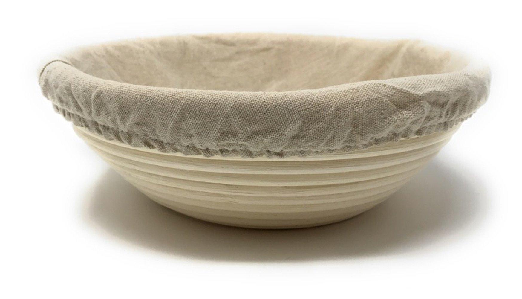 3-Piece Set: Emile Henry Ceramic Round Stewpot Dutch Oven Bread Pot, Burgundy, 8 inch Round Banneton Bread Rising Basket, Fitted Cotton Liner - Bundle by Bundle (Image #2)