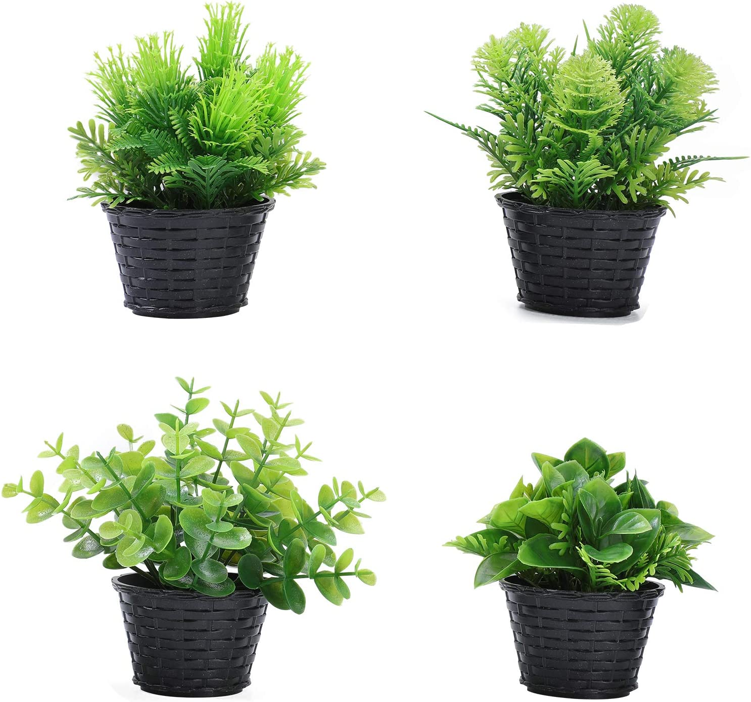 Green Decoration Artificial Plants Small Potted Realistic Fake Plastic Greenery Tabletop Topiary Trees for Home Office Garden Decor Indoor & Outdoor Set of 4 Faux Tabletop