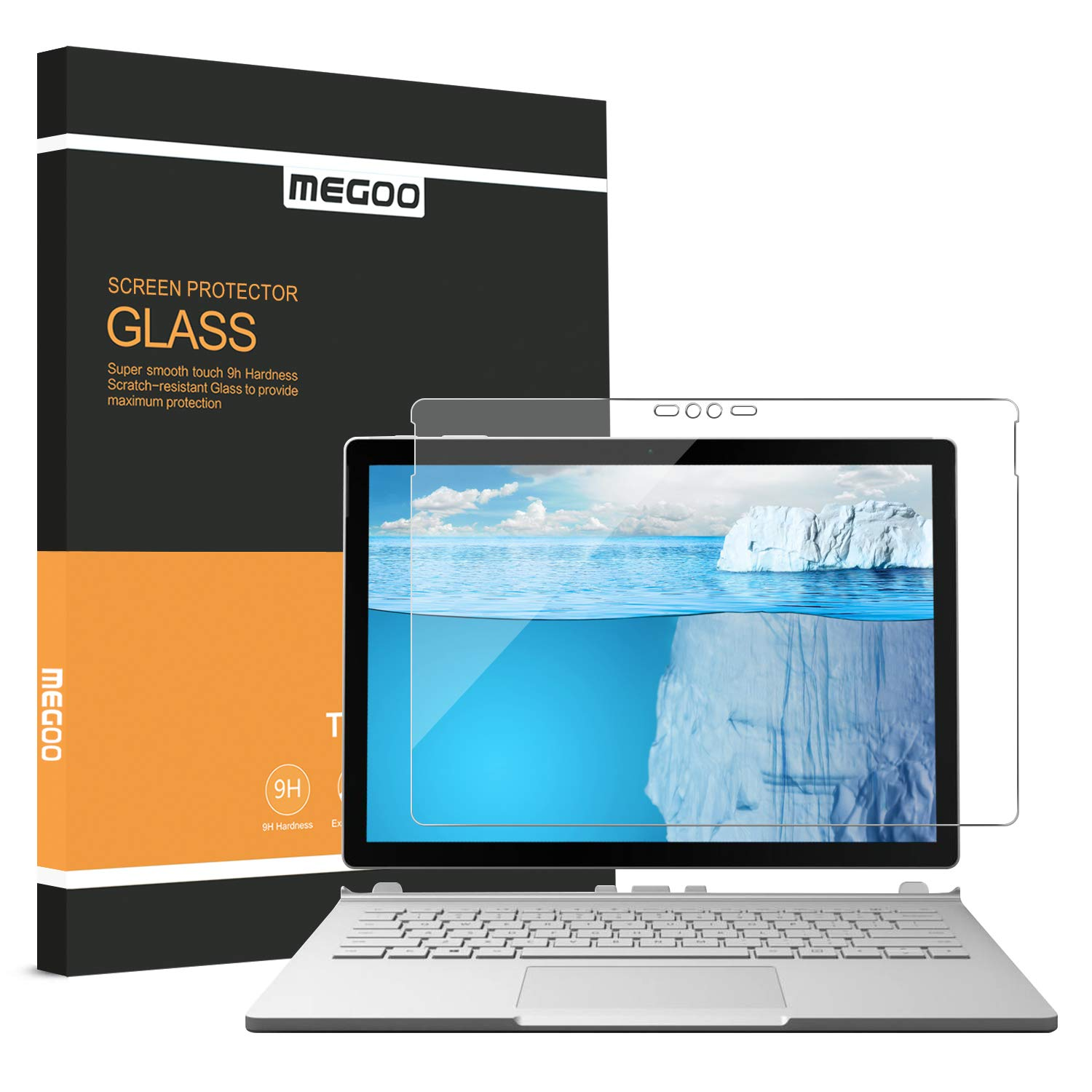 Megoo Surface Book 2 Screen Protector [Tempered Glass], Easy Installation Anti-Scratch Friendly Touching Screen Shield (Updated Version 2017) Also Compatible for Microsoft Surface Book [13.5 Inch]