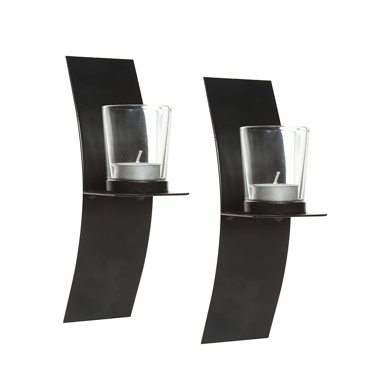 Hosley's Set of 2, Modern Art Large Wall Sconces with Clear Glass Votive Candle holders-9