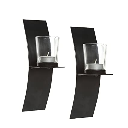 Hosleyu0027s Set Of 2, Modern Art Large Wall Sconces With Clear Glass Votive  Candle Holders