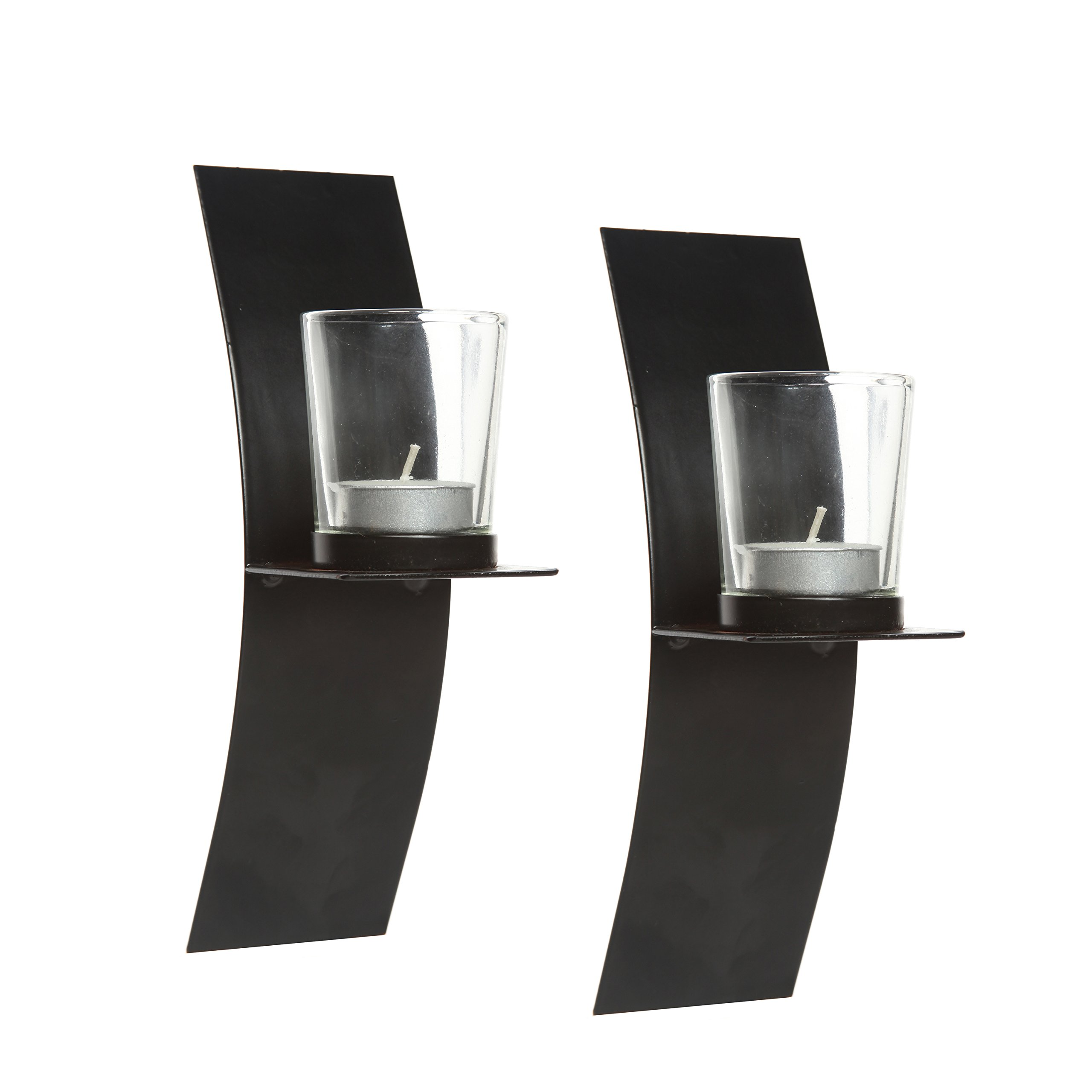 Hosley's Set of 2, Modern Art Large Wall Sconces with Clear Glass Votive Candle holders-9'' High & FREE Tea Lights. Classic Design Hand Made By Artisans Great Wedding Gift, LED Holder O3