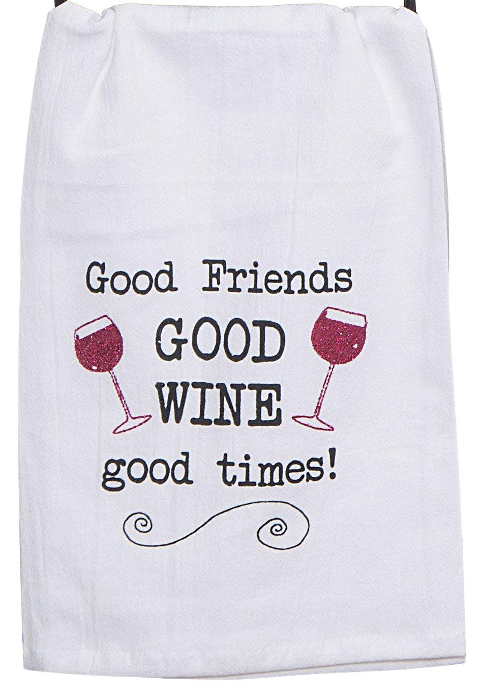 Kay Dee Designs Good Wine Krinkle Flour Sack Towel with Glitter Dye No A8548
