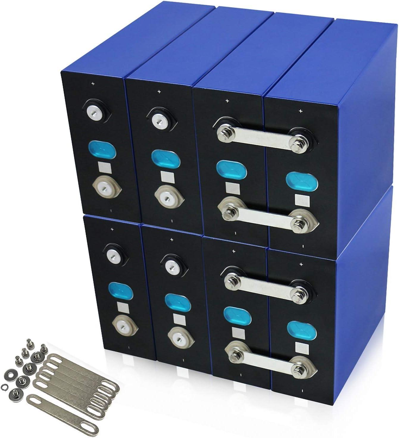 LeiQuanQuan Batería LiFePO4 8PCS LIFEPO4 3.2V 280AH Batería 12V 24V 48V Paquete de batería de Bricolaje Recargable para la Copia de Seguridad de la energía RV Energía de energía Solar