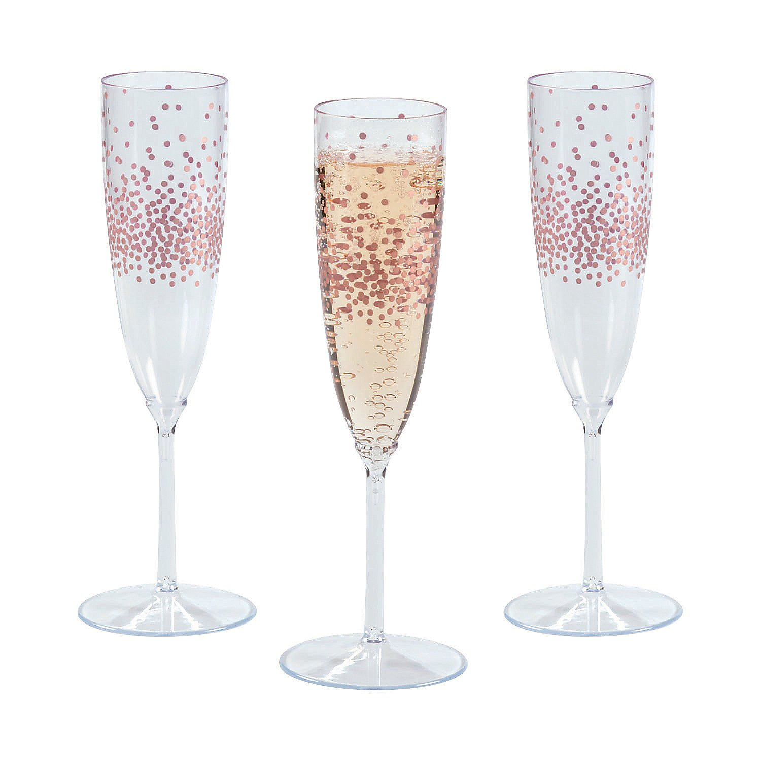 Amazon Premium Plastic Rose Gold Dot Champagne Flutes Health