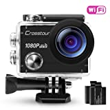 """Crosstour Action Camera Waterproof Wi-Fi Full HD 1080P 12MP 2"""" LCD 98ft Underwater 170° Wide-angle Sports Camera with 2 Rechargeable 1050mAh Batteries and Mounting Accessory Kits"""