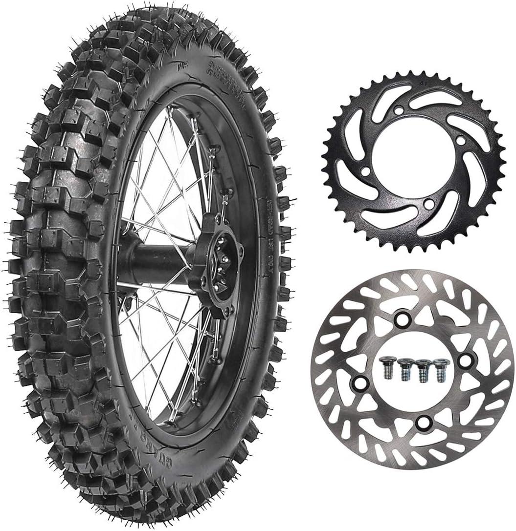TDPRO Rear 90//100-14 Wheel Tire /& Rim Inner Tube With 15mm Bearing /& Brake Disc Rotor /& 428 41T Sprocket /& Hydraulic Disc Brake Caliper Master Cylinder /& Rim Axle Set for Dirt Pit Bike