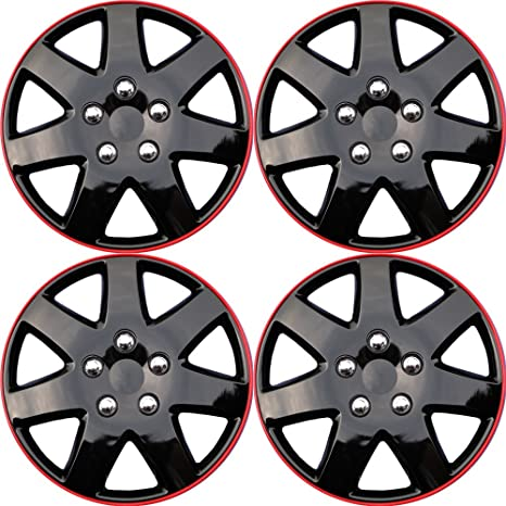 Hubcaps 15 inch Wheel Covers - (Set of 4) Hub Caps for 15in Wheels Rim Cover - Car Accessories Ice Black Red Hubcap Best for 15inch Cars Standard Steel Rims ...