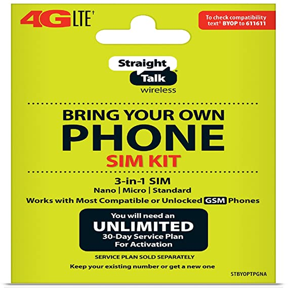 New Straight Talk Bring Your Own Phone (BYOP) 3 size in 1 SIM card Kit AT&T  Compatible